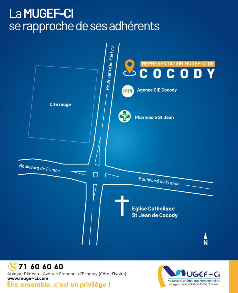 Géolocalisation de la représentation MUGEF-CI COCODY